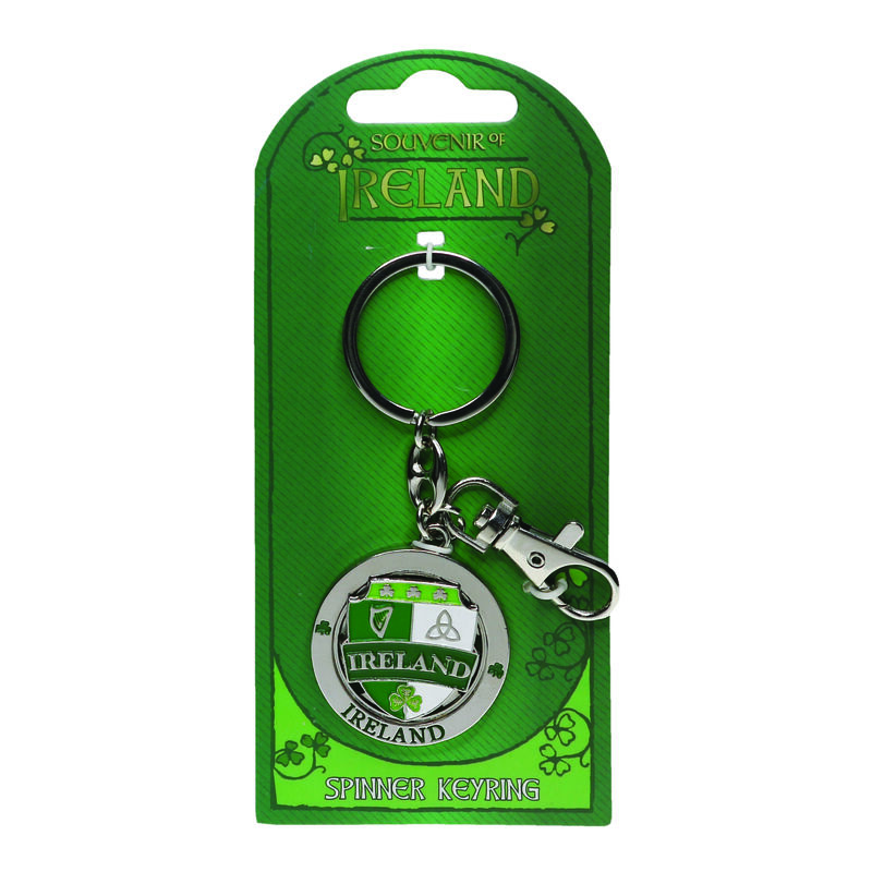 Metal Spinner Keychain With Green And White Ireland Designed Crest