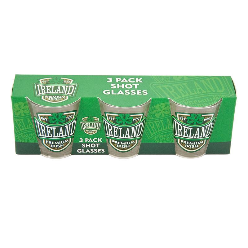 3 Pack Shot Glasses With Ireland  Premium Irish And Green Shamrock Design