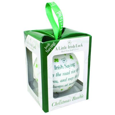 4 Leaf Clover  weiße Weihnachtskugel mit irischem Sprichwort
