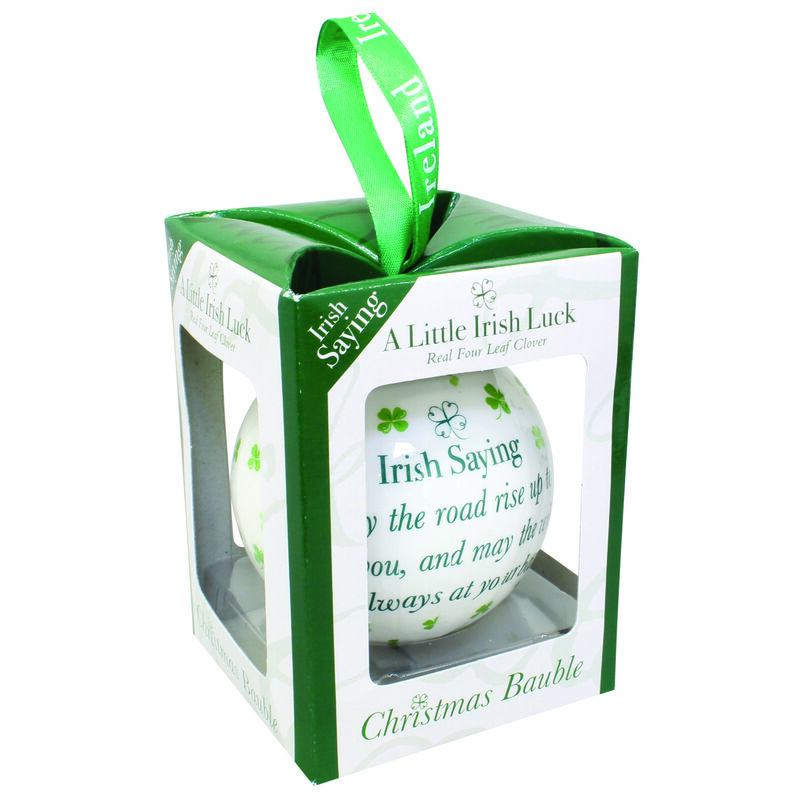 4 Leaf Clover White Christmas Bauble With Irish Saying