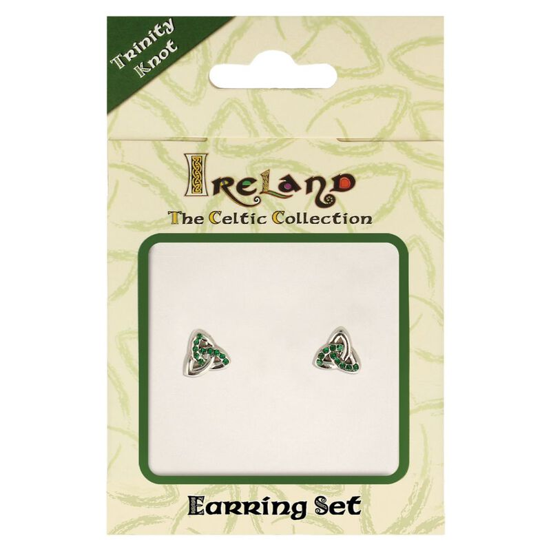 The Celtic Collection Ireland Earrings With Green Stones In Trinity Knot Design