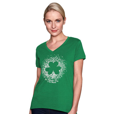 St. Patrick's Day Shamrock In White Hearts Designed Ladies T-Shirt