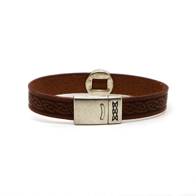 Lee River Genuine Brown Leather Celtic Cuff With Magnetic Closure