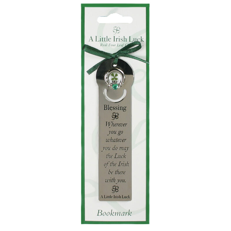 Four Leaf Clover Bookmark With Irish Blessing