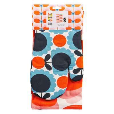 Orla Kiely Butterfly Stem Designed Tea Towel and Oven Mitt Set