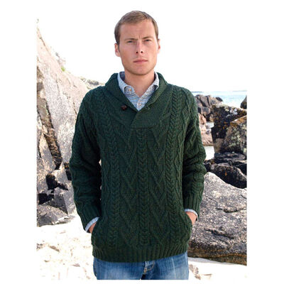 Shawl Collar Aran Sweater Green
