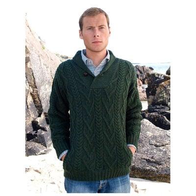 Shawl Collar Aran Sweater Green