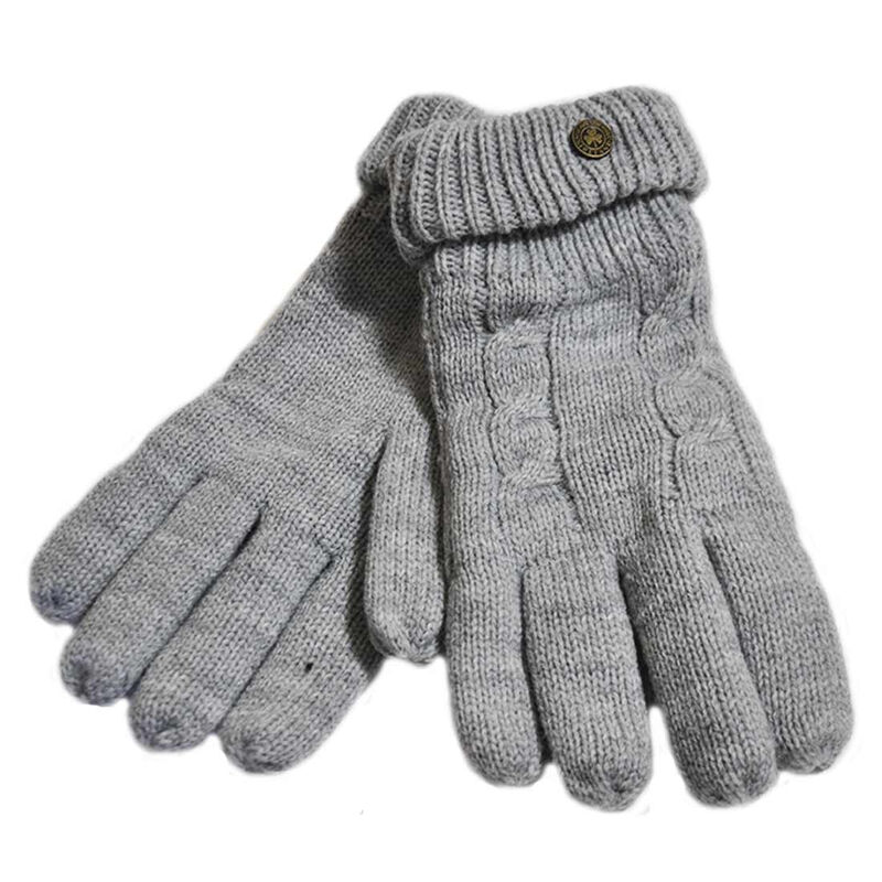 Man Of Aran Cable Knit Gloves With Embossed Metal Shamrock  Grey Colour