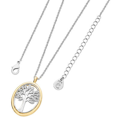Tipperary Crystal Oval Tree Of Life Rose Gold Plated Pendant