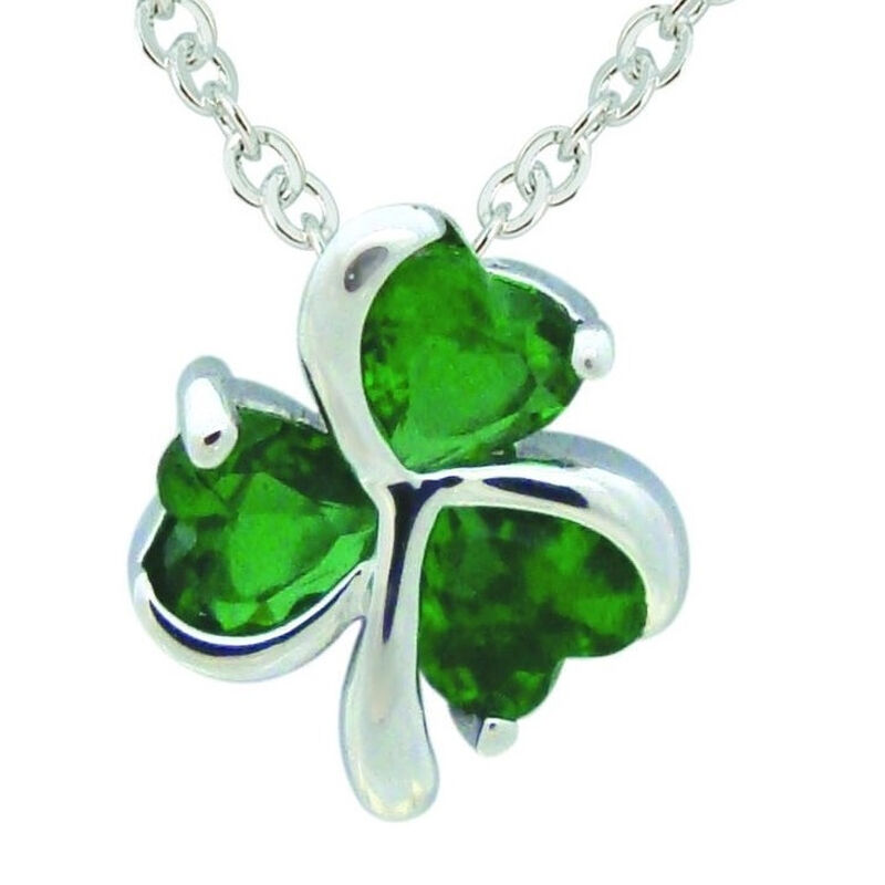 Silver Plated Shamrock Pendant With Cubic Zirconia Stones