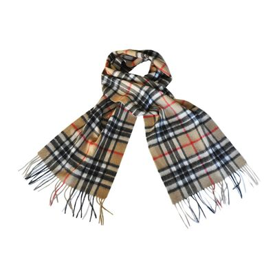 Carrolls Irish Designs Wool Scarf With Beige  Black  Red and White Design