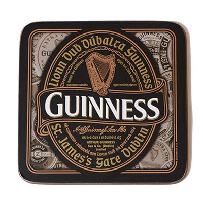 Nostalgic Guinness Coaster With Harp Design Label and Irish Text 'Lionn Dub Dubalta Guinness'