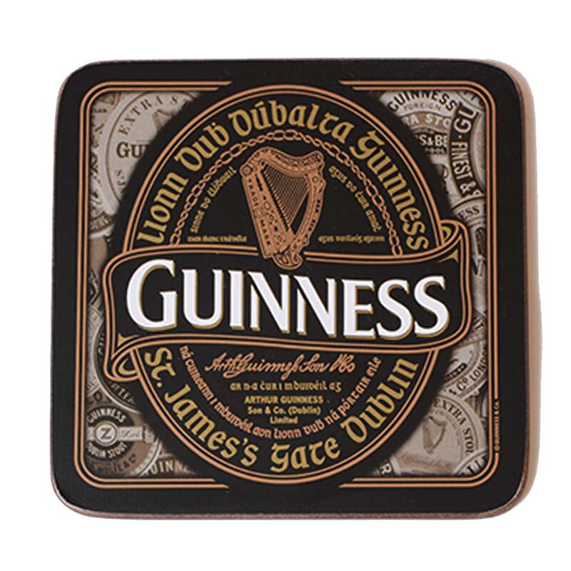 Nostalgic Guinness Coaster With Harp Design Label and Irish Text 'Lionn Dub Dúbalta Guinness'