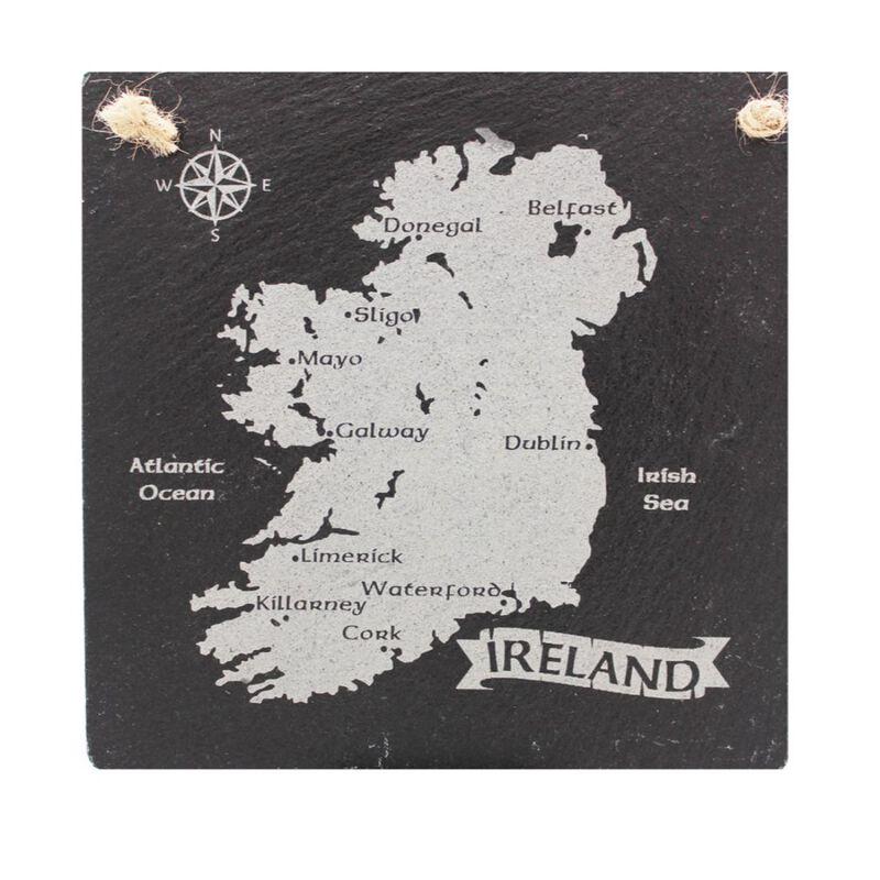 Irish Slate Rectangular Hanging Plaque With Irish Map Design