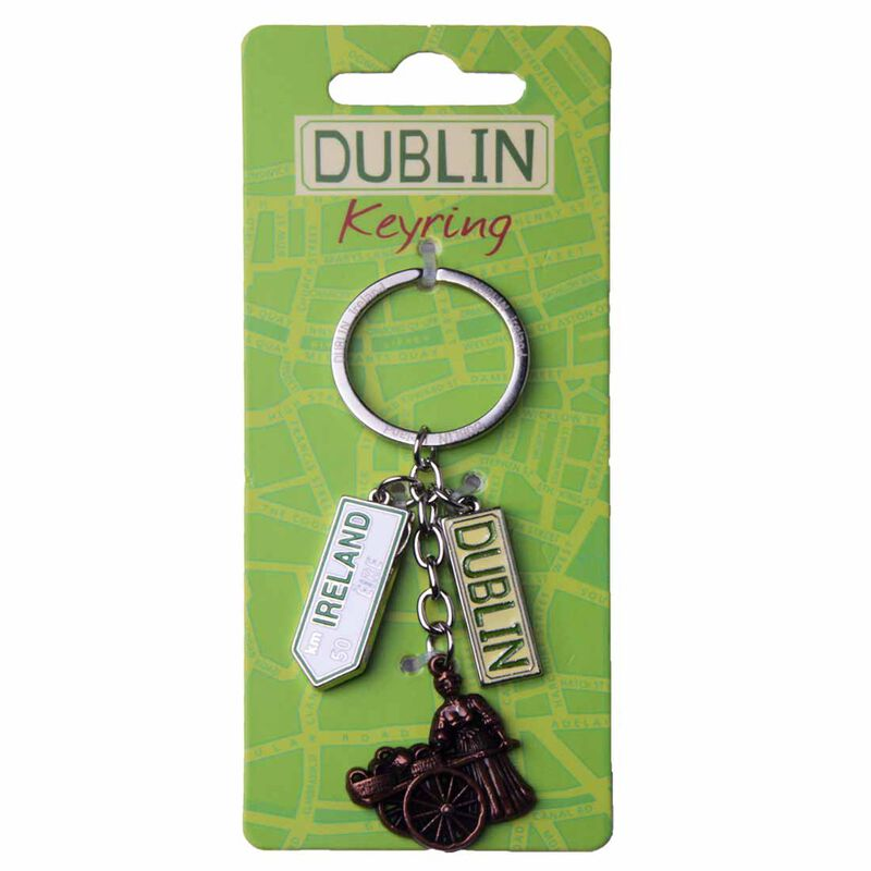 Map of Dublin Keychain With Dublin Sign  Molly Malone Statue And Ireland Road Sign