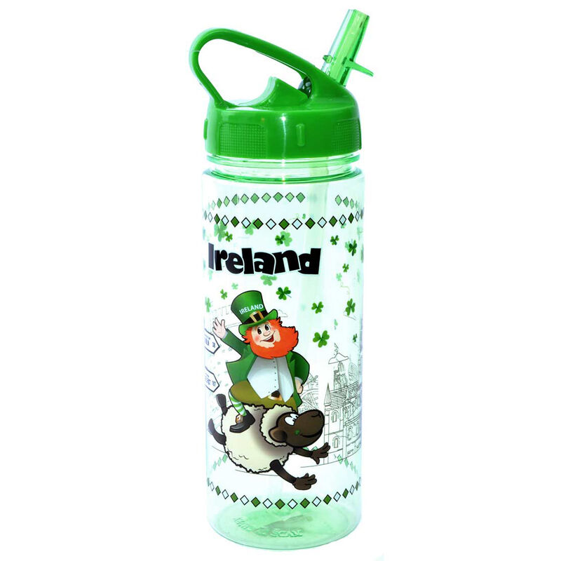 Ireland Water Bottle With Murphy The Leprechaun and Signpost Design