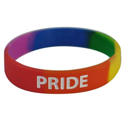 Pride Coloured Gel Wristband With A White 'pride' Print  Onesize Fits All