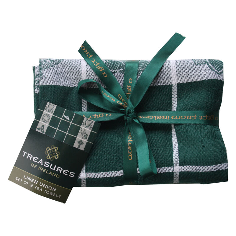 Treasures Of Ireland Embroidered Green Waffle Tea Towel (2 Pack)