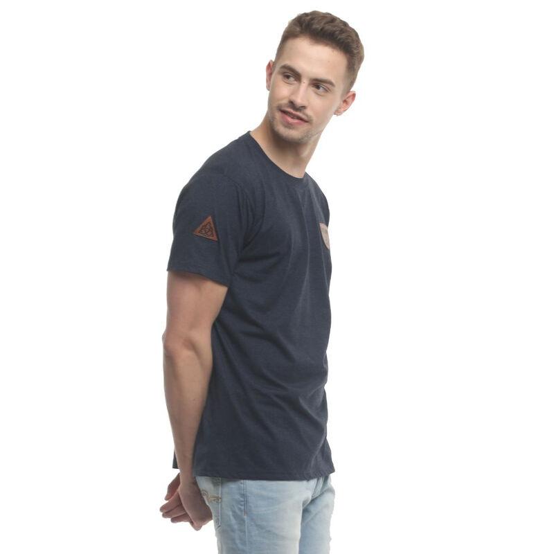 Irish T-Shirt With Ireland Shamrock Design Leather Patch  Navy Colour