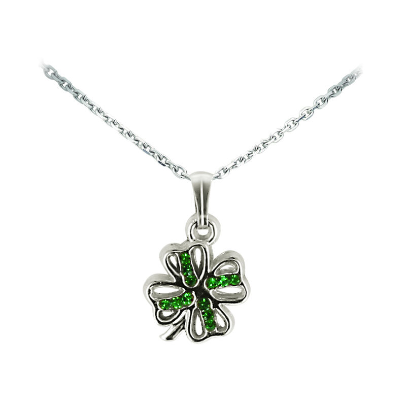 Silver Plated Four Leaf Clover Pendant With Green Diamante Centre