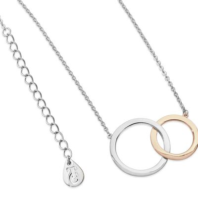 Tipperary Crystal Interlocking Silver and Rose Plated Circles Pendant