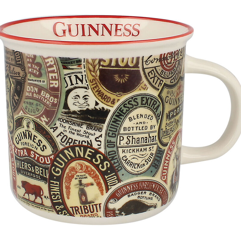 Ceramic Guinness White Espresso Mug With Archive Label Design