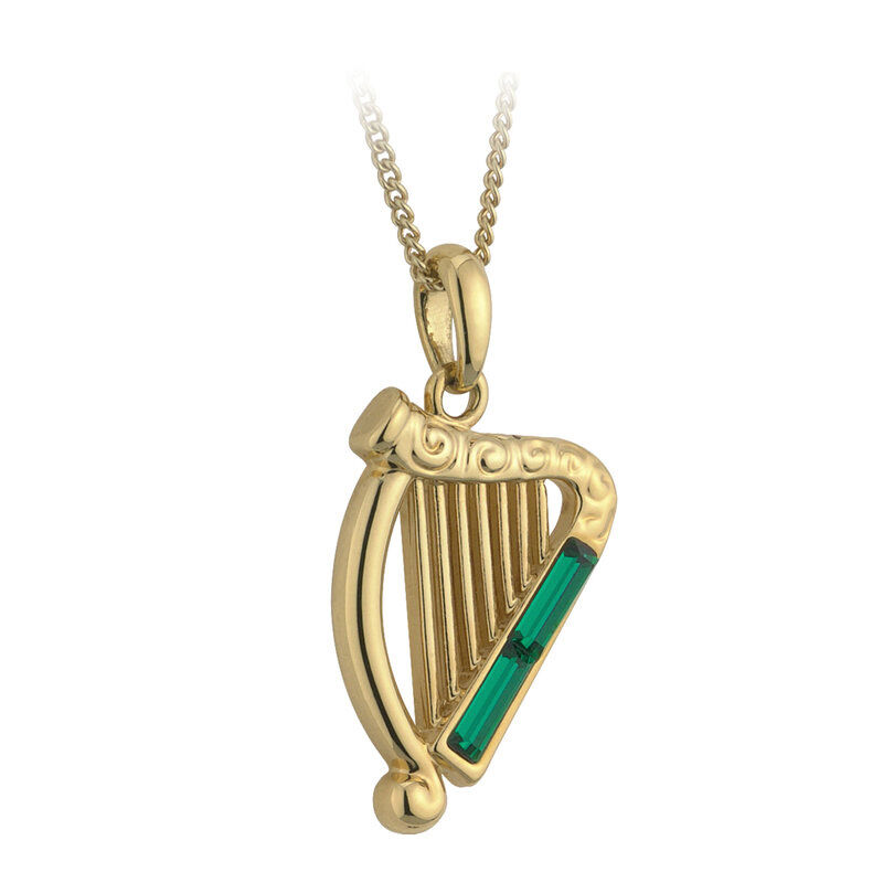 Gold Plated Green Crystal Harp Pendant