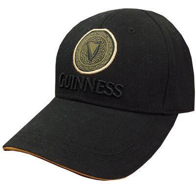 Guinness Gold Celtic Knot Design Baseball Cap With Guinness Text Black Colour
