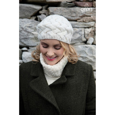 Intertwined Knitted 100% Merino Wool Children's Beret  Natural Colour