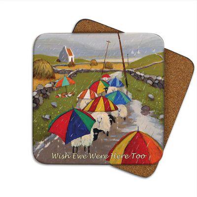 Irish Coaster With Sheep Under Umbrella's And 'Wish Ewe Were Here Too' Text