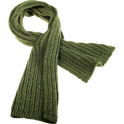 Cozy Unisex Pull Through Ribbed Woollen Knitted Scarf In Fern Green