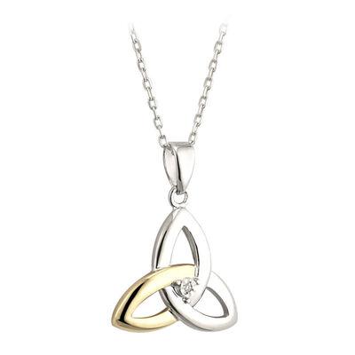 Hallmarked Sterling Silver 10K Gold & Diamond Trinity Knot Pendant