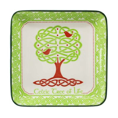 Celtic Designed Shallow Square Bowl Dish With Tree Of Life Design