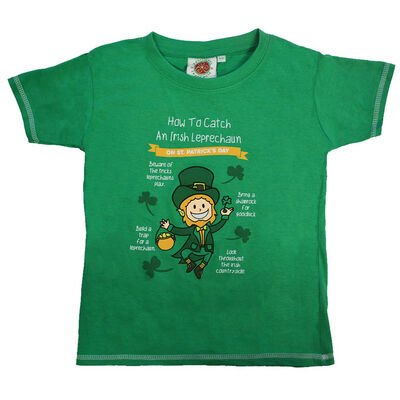 St. Patrick's Day Kids T-Shirt Catch An Irish Leprechaun Design