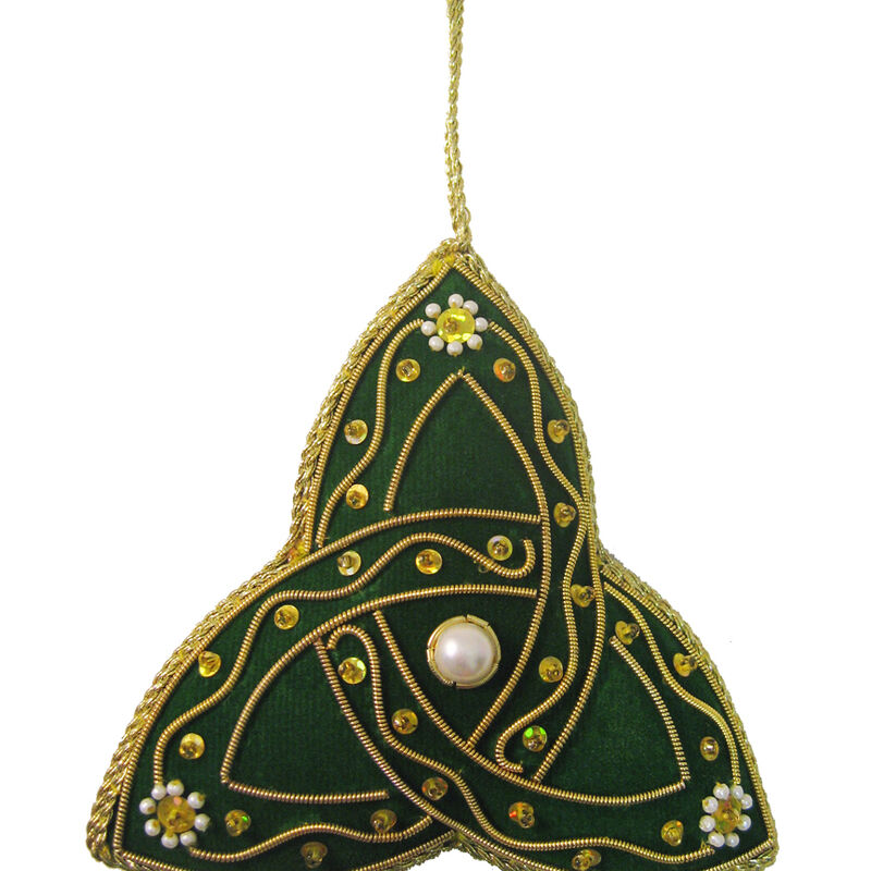 Celtic Green Needlework Hanging Trinity Knot Ornament  9cm X 9cm