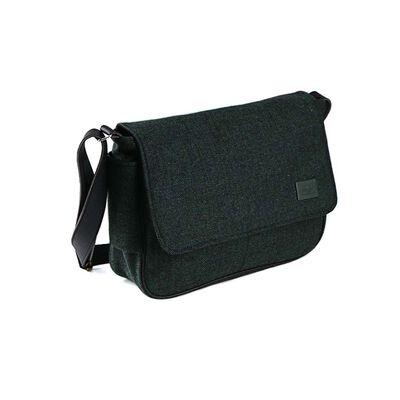 Men's Satchel Bag With Green Herringbone Design