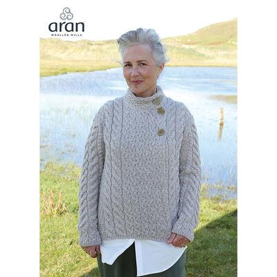 Ladies Luxury Merino Wool Trellis Multi Aran Cable Knit Cardigan, Oatmeal