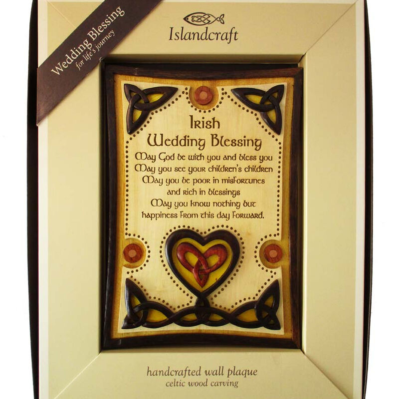 Wooden Wall Plaque With Irish Wedding Blessing Design