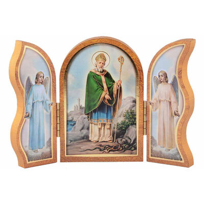 St. Patrick and Angels Small Wooden Triptych