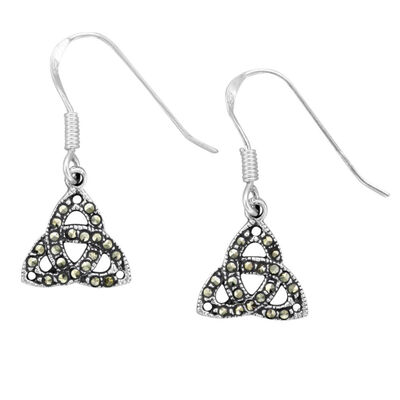 Hallmarked Sterling Silver Marcasite Celtic Trinity Knot Earrings