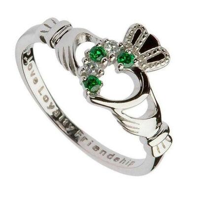 Claddagh-Ring aus gepunztem Silbersterling mit grünem und klarem Zirkonia-Stein