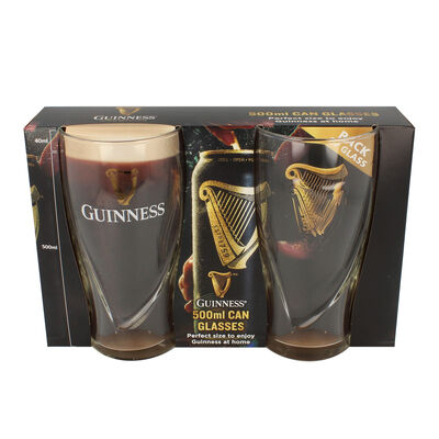 Guinness 500ml Can Glasses 2 Pack With Embossed Harp Logo Design