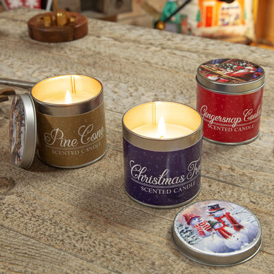 Christmas Scented Tin Candles - 3 Designs