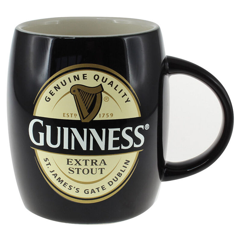 Ceramic Guinness Barrel Mug With Extra Stout Label  Black Colour (Optional Gift Box)