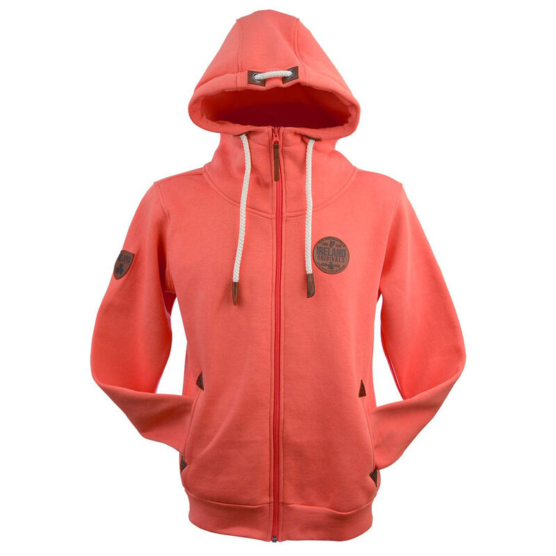 Irish Zip Hoodie With Original Leather Patch, Coral Colour