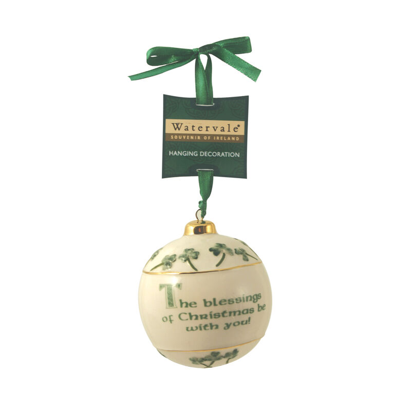 Watervale Hanging Bauble Decoration with Irish Blessing The Blessings of Christmas...