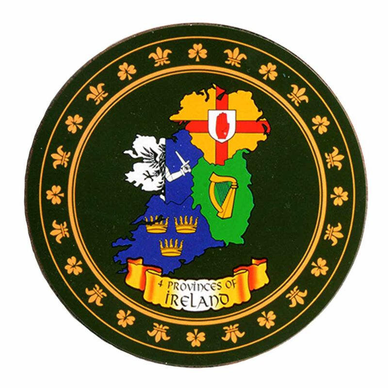 Hearaldic Coaster With Map Of Ireland Designed In The Four Provinces Crests