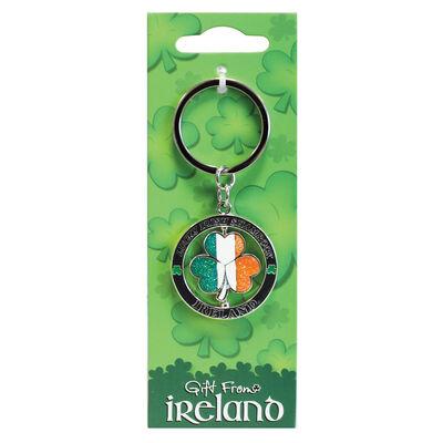 Lucky Irish Tri Colour Shamrock Spinner Keychain