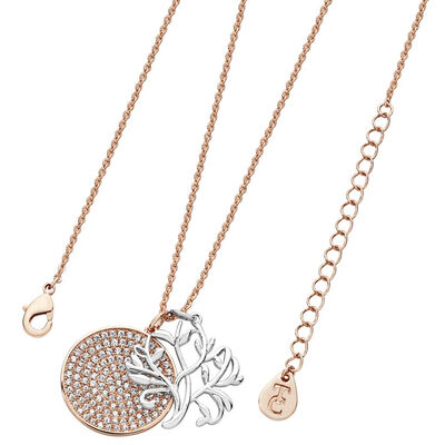 Tipperary Crystal Tree Of Life With Round Pave Disc Rose Gold Plated Pendant