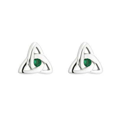 Hallmarked Sterling Silver Green Crystal Trinity Knot Earrings